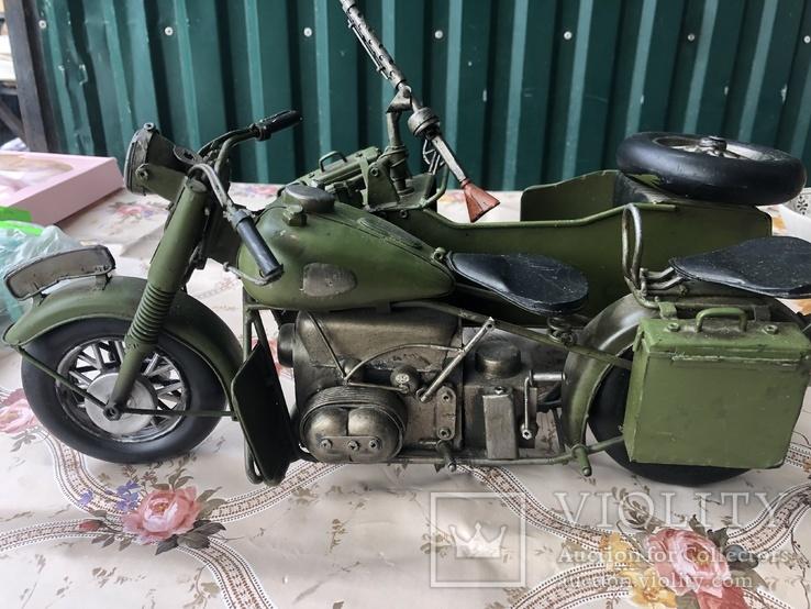 Металлическая модель военного мотоцикла  1939  г, фото №5