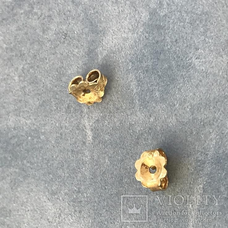 Серебряные сережки с позолотой, 5,73 грамм, фото №3