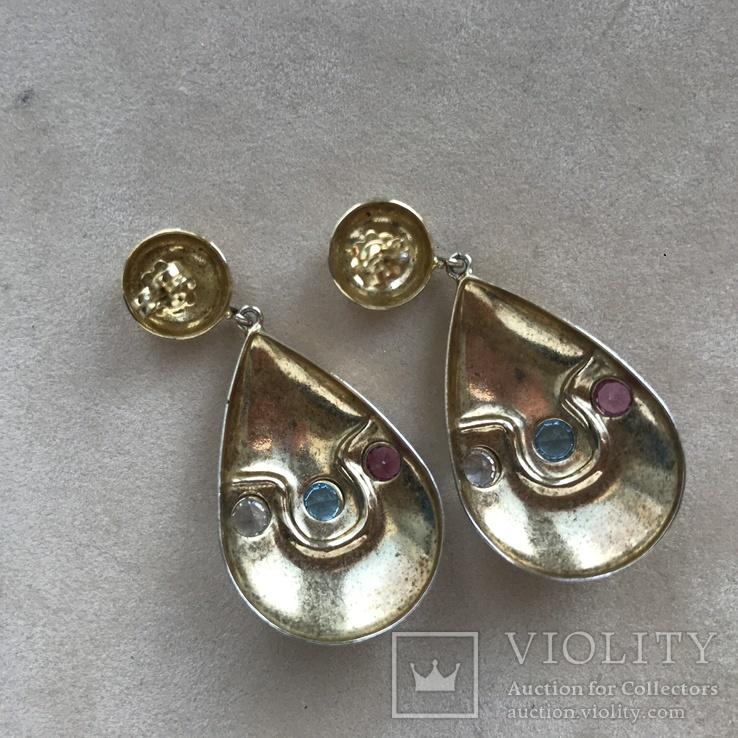 Серебряные сережки с позолотой, 5,73 грамм, фото №5