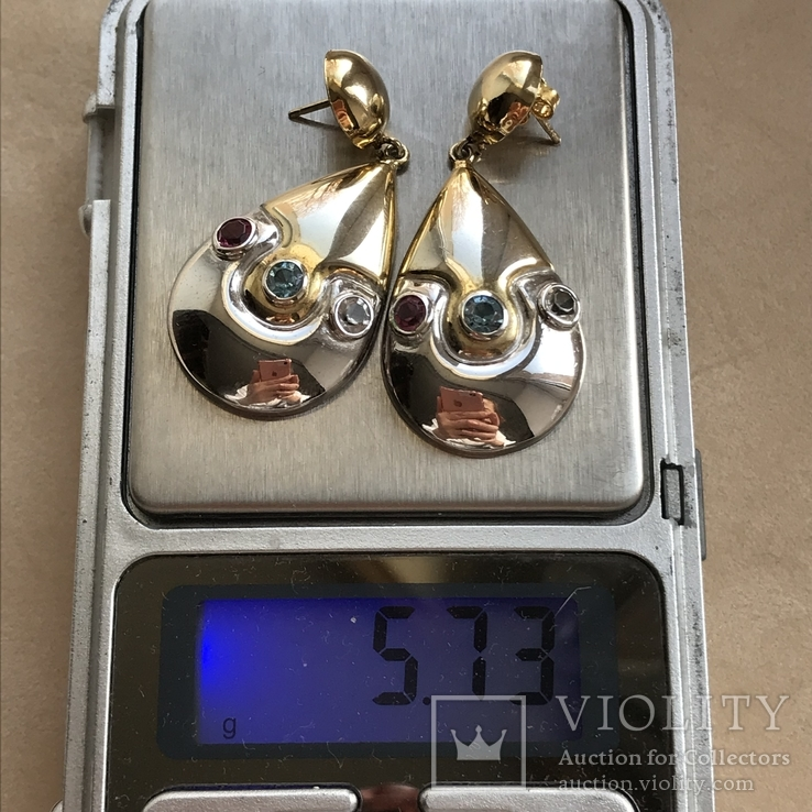 Серебряные сережки с позолотой, 5,73 грамм, фото №9