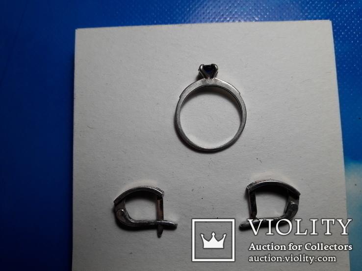 Серьги и кольцо.золото+ серебро., фото №3