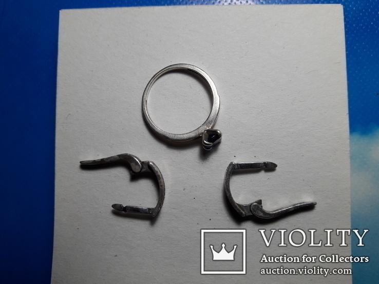 Серьги и кольцо.золото+ серебро., фото №13