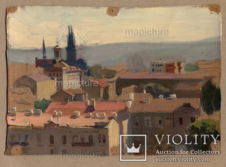 Вид Киева с крыши   нач. 1950-х, картон, масло.