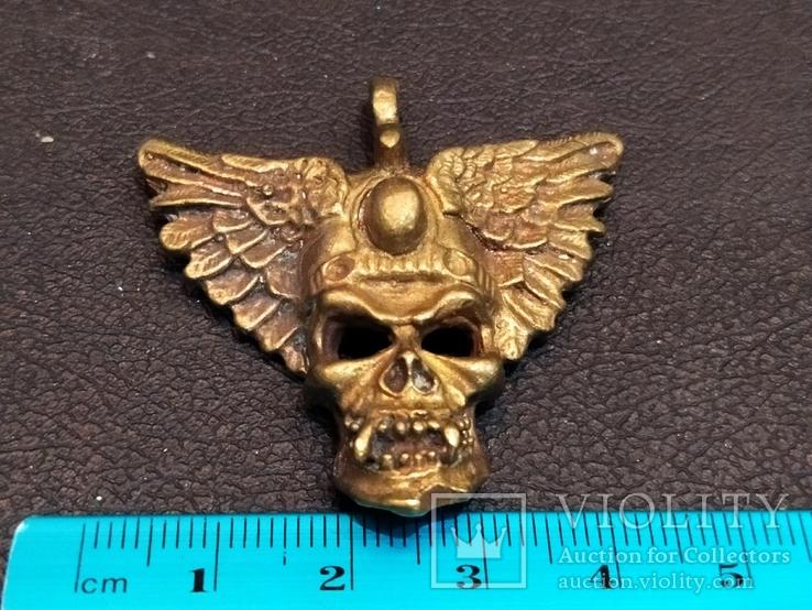 Череп с крыльями бронза брелок коллекционная миниатюра, фото №7