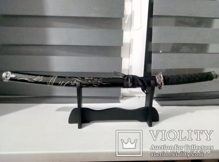Японский самурайский меч катана со стойкой для меча. Сувенирная сабля., фото №3