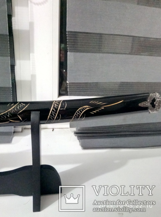 Японский самурайский меч катана со стойкой для меча. Сувенирная сабля., фото №6