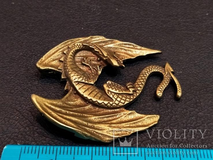 Дракон большой коллекционная миниатюра брелок бронза, фото №6