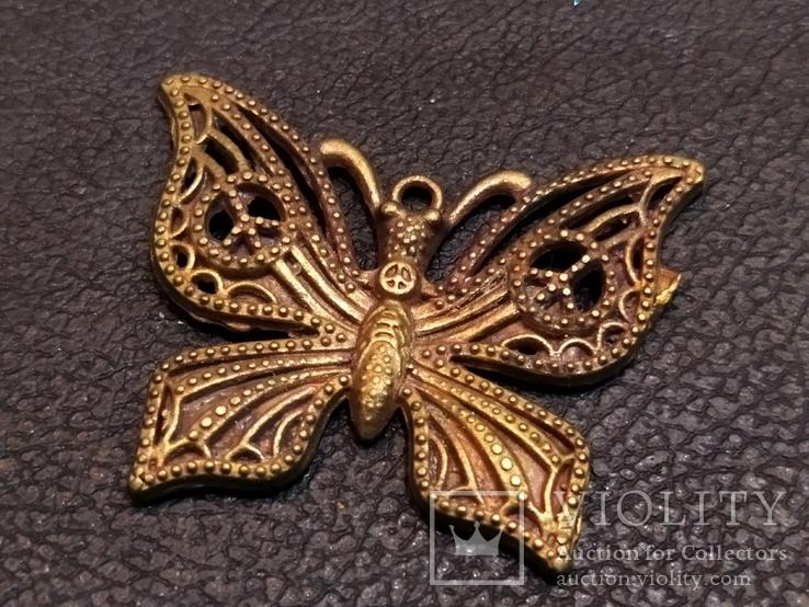 Бабочка красавица 2 скань бронза брелок коллекционная миниатюра, фото №3