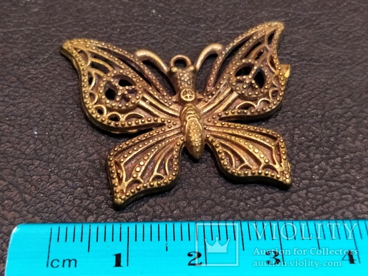 Бабочка красавица 2 скань бронза брелок коллекционная миниатюра, фото №5