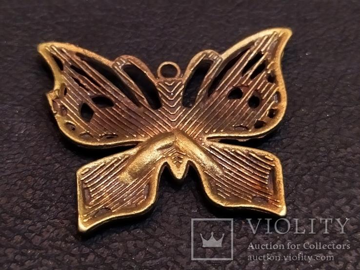 Бабочка красавица 2 скань бронза брелок коллекционная миниатюра, фото №6