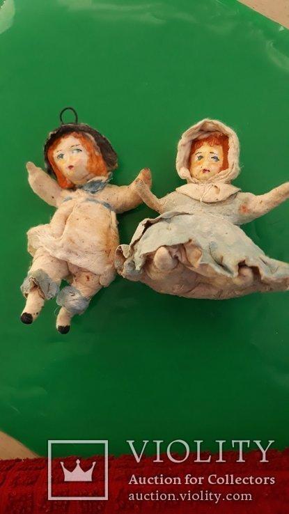 Ёлочная игрушка девочка и мальчик  папье-маше 2 шт