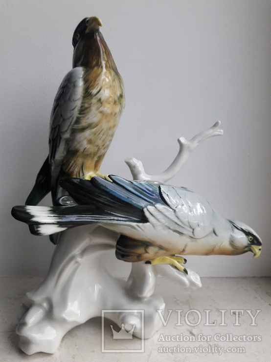 Хищные птицы на ветке, Карл Энс,Karl Ens, Германия, 1930-40 гг