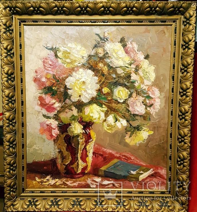 """""""Натюрморт с книгой"""",довоенная работа,х/м.,80×70 см., фото №3"""