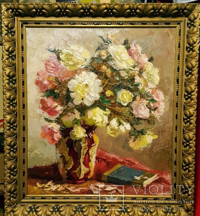"""""""Натюрморт с книгой"""",довоенная работа,х/м.,80×70 см., фото №2"""