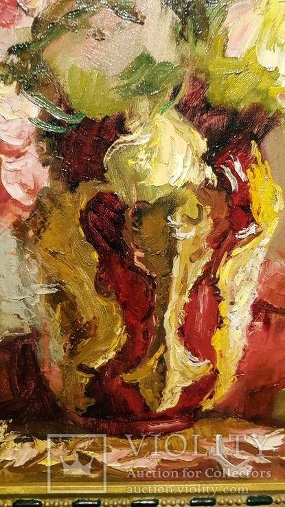 """""""Натюрморт с книгой"""",довоенная работа,х/м.,80×70 см., фото №6"""