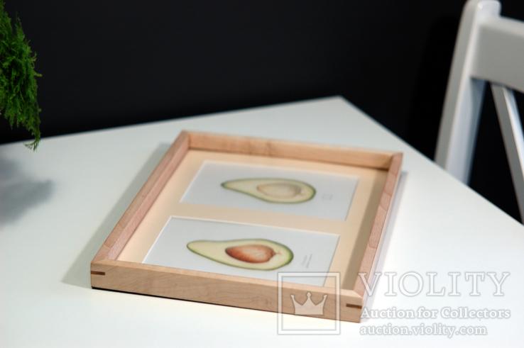 Авокадо. Авторская акварель. Декор для кухни в деревянной раме (клен), фото №6