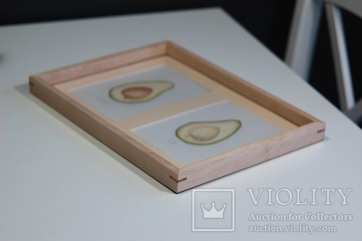 Авокадо. Авторская акварель. Декор для кухни в деревянной раме (клен), фото №7