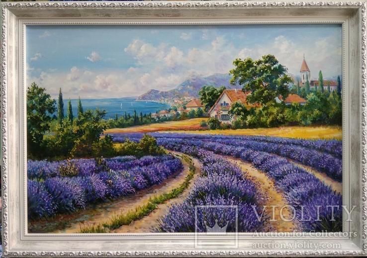 Картина пейзаж Лавандовый прованс Коротков С В холст масло 40х60