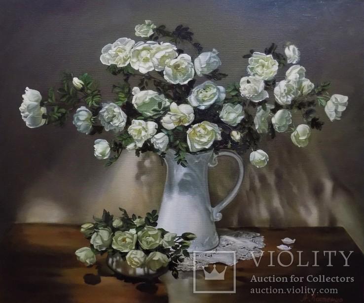 """""""Натюрморт с белыми розами"""" 50х60 см, х/м, Костенко А.С., фото №3"""