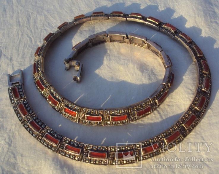 Ожерелье колье серебро, марказиты.