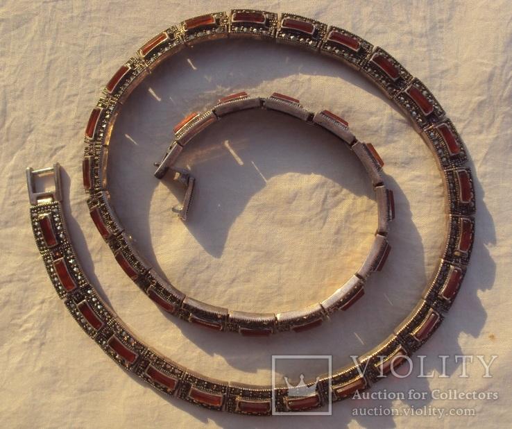 Ожерелье колье серебро, марказиты., фото №3