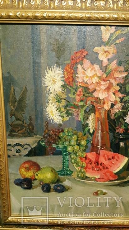 """Натюрморт с арбузом"",х/м,1954 г.,90×70 см., фото №6"