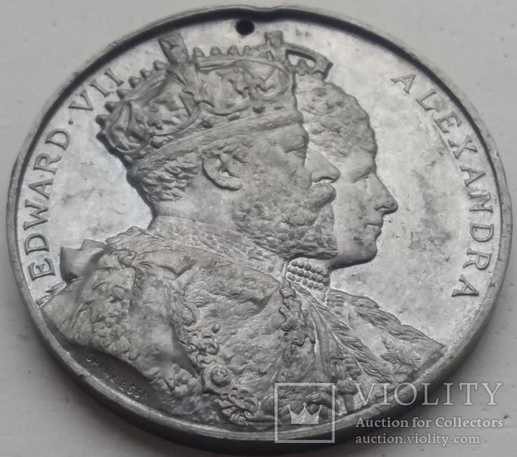 Англия медаль 1905 год Эдуард VII и Шеффилд, фото №2