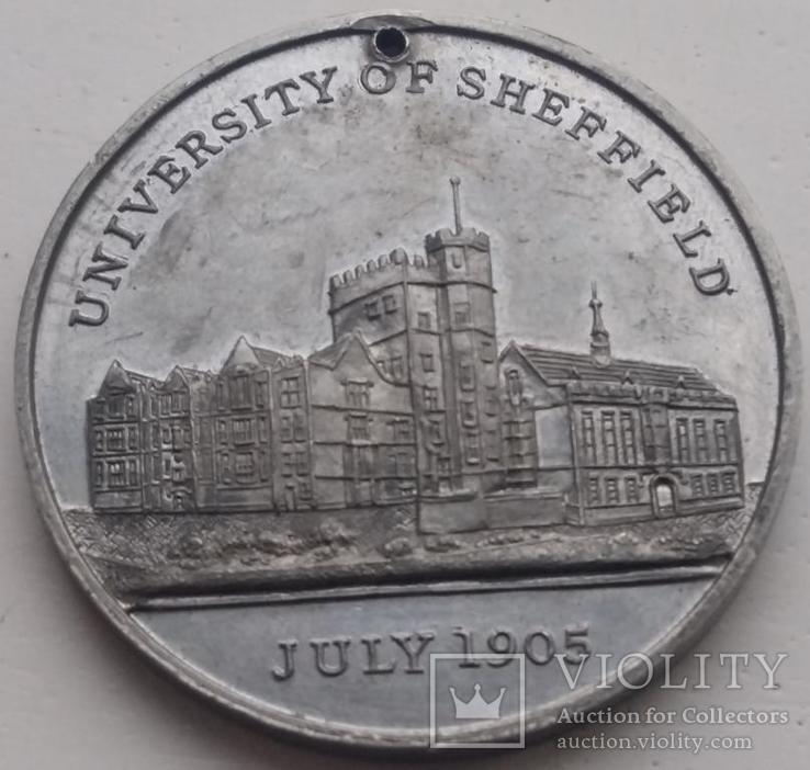 Англия медаль 1905 год Эдуард VII и Шеффилд, фото №3