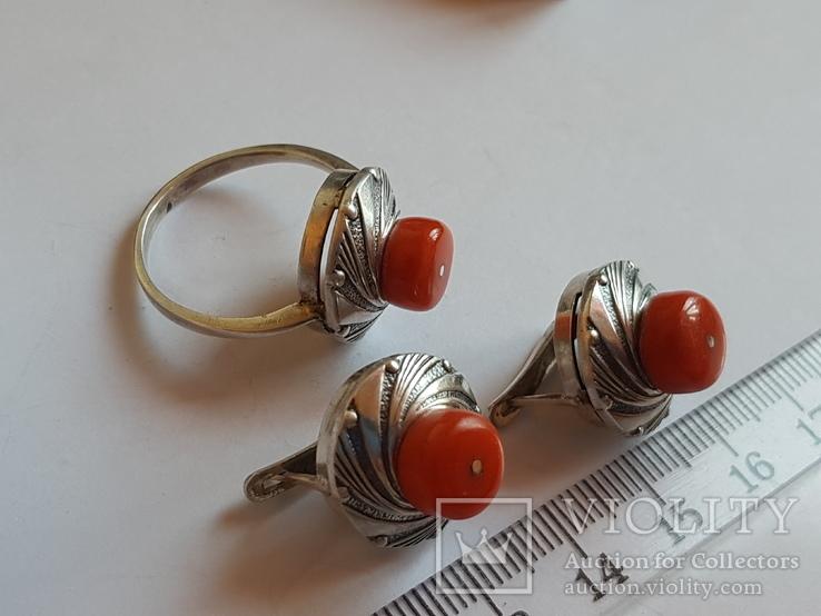 Набор кольцо + серьги. Серебро 925 проба.Коралл. Размер кольца 19, фото №5