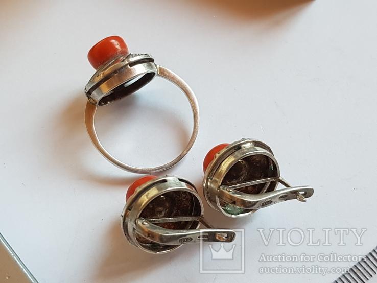 Набор кольцо + серьги. Серебро 925 проба.Коралл. Размер кольца 19, фото №8
