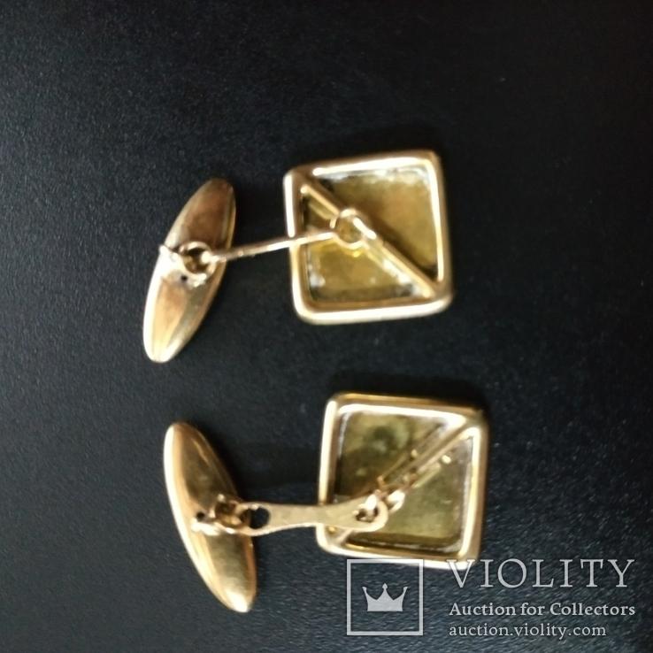 Запонки золотые(золото-750''),Италия. Вес-6,41 гр., фото №5
