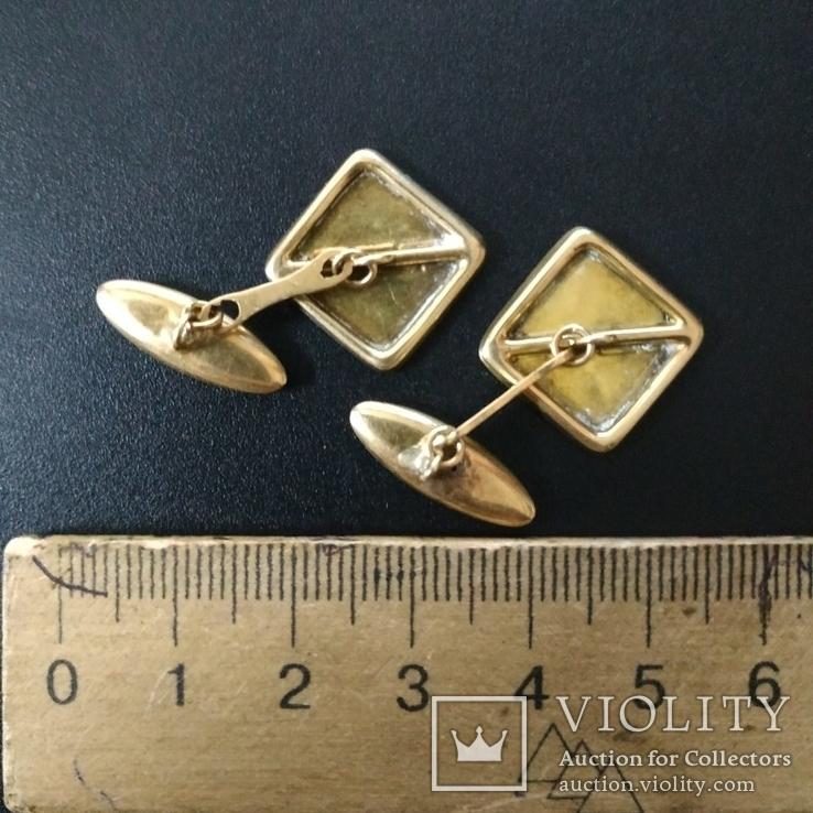 Запонки золотые(золото-750''),Италия. Вес-6,41 гр., фото №6