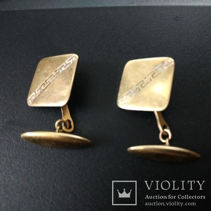 Запонки золотые(золото-750''),Италия. Вес-6,41 гр., фото №2