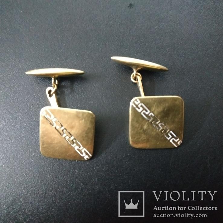 Запонки золотые(золото-750''),Италия. Вес-6,41 гр., фото №8