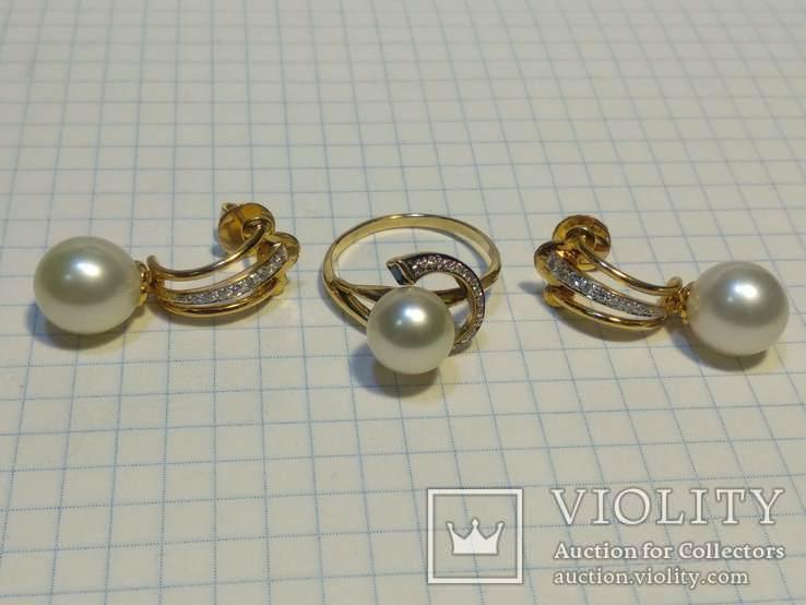 Набор сережки кольцо, Жемчуг, Сапфир, Бриллианты