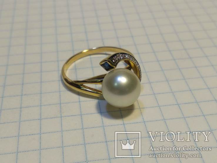 Набор сережки кольцо, Жемчуг, Сапфир, Бриллианты, фото №3