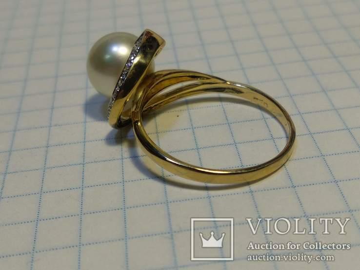 Набор сережки кольцо, Жемчуг, Сапфир, Бриллианты, фото №5
