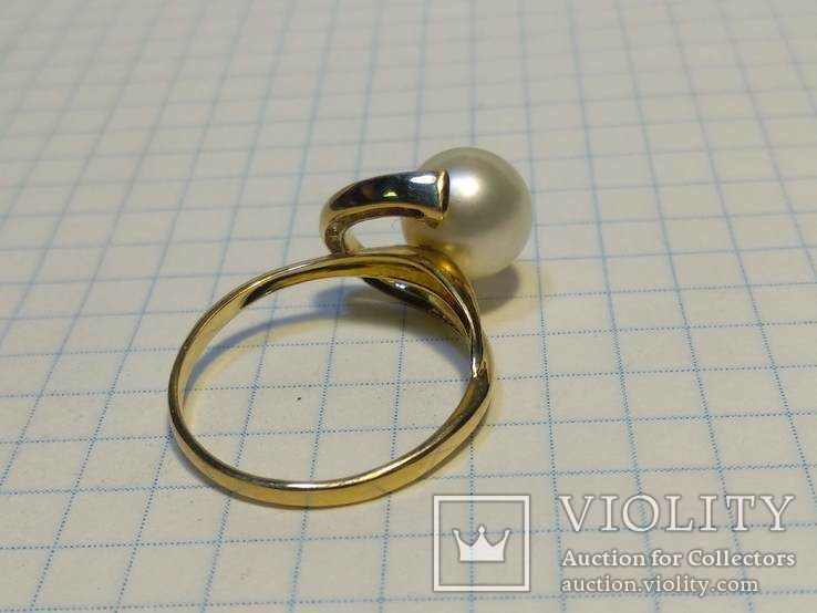 Набор сережки кольцо, Жемчуг, Сапфир, Бриллианты, фото №6