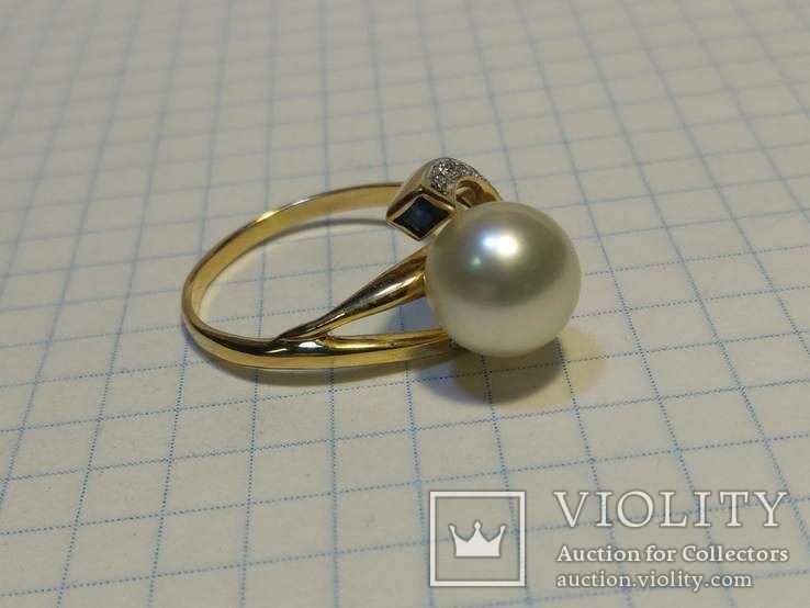 Набор сережки кольцо, Жемчуг, Сапфир, Бриллианты, фото №7