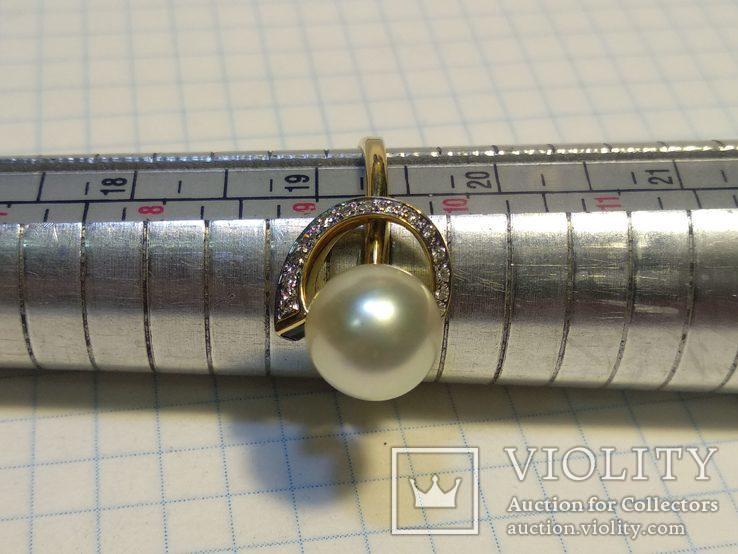 Набор сережки кольцо, Жемчуг, Сапфир, Бриллианты, фото №8