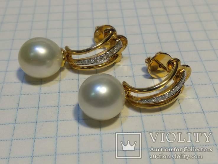 Набор сережки кольцо, Жемчуг, Сапфир, Бриллианты, фото №9