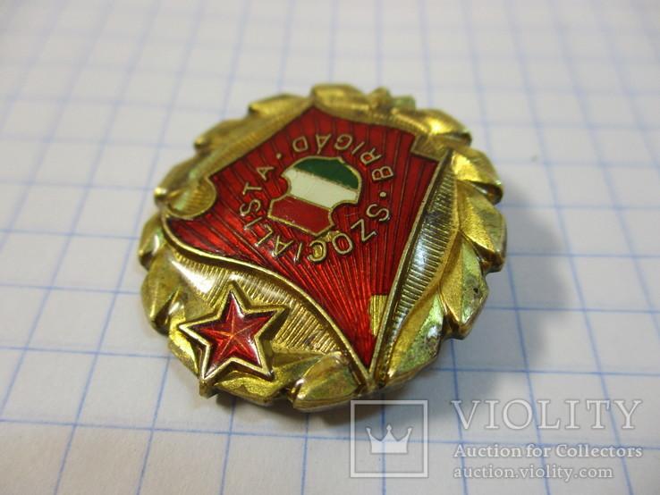 Знак Социалистическая бригада Венгрия, большой, фото №3