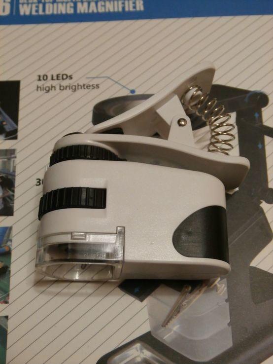 Микроскоп для смартфона Mpk10-Cl60x с клипсой зажимом и usb зарядкой, фото №4