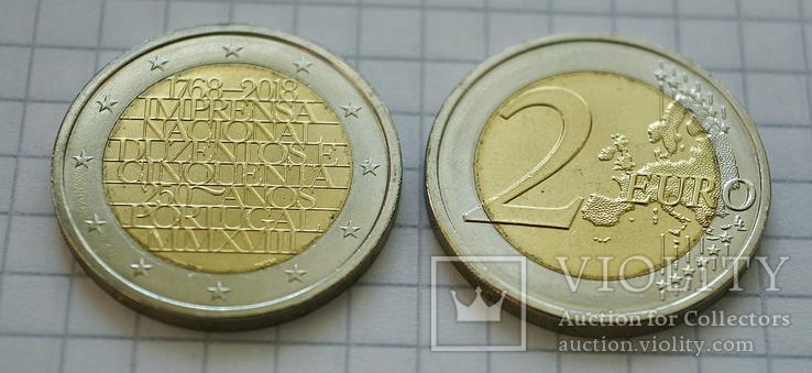 Португалия 2 евро, 2018, 250 лет Национальной прессе, фото №3