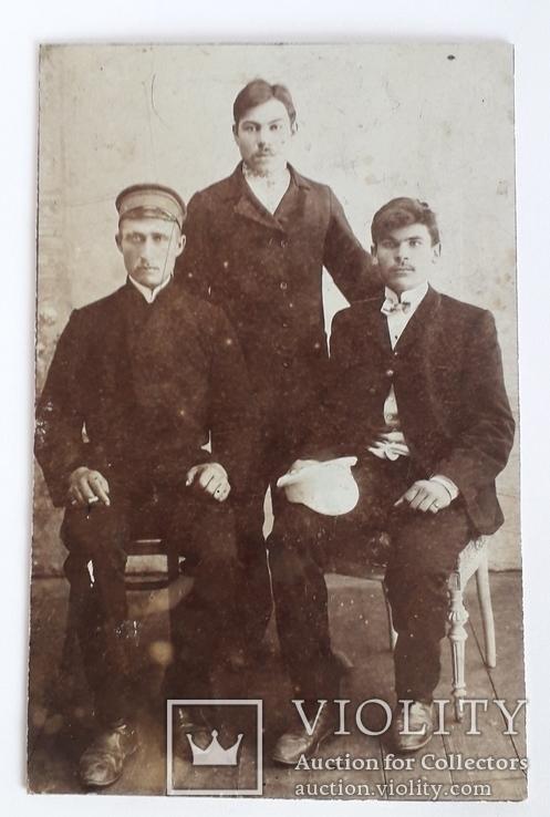 Старинная груповая фотография мужчин (8.6*13.3), фото №2