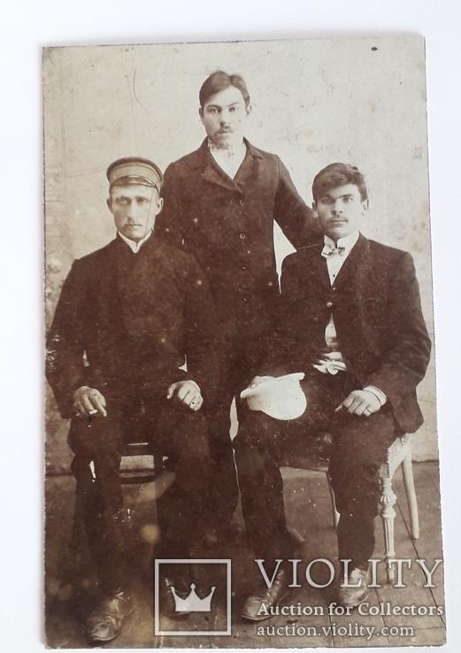 Старинная груповая фотография мужчин (8.6*13.3), фото №3
