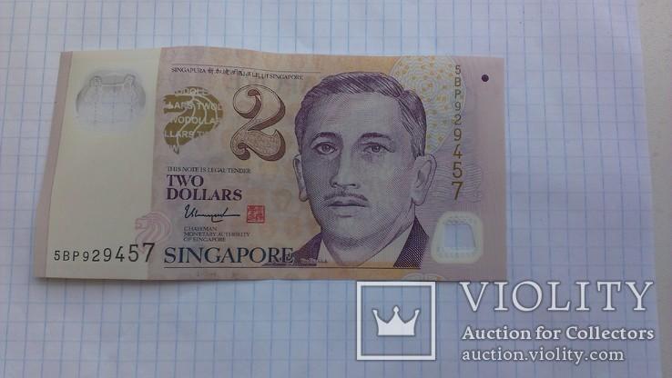 2 доллара Сингапур, пластик., фото №2