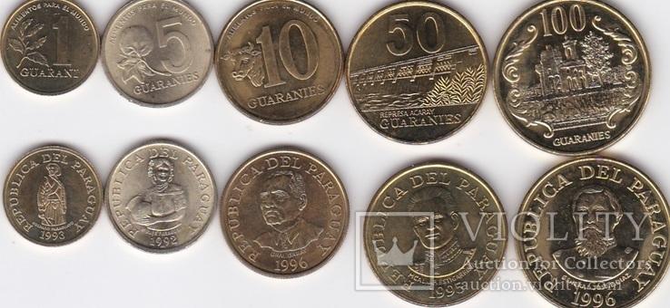 Paraguay Парагвай - 1 5 10 50 100 Guaranies 1992 - 1996 XF+ набор 5 монет JavirNV