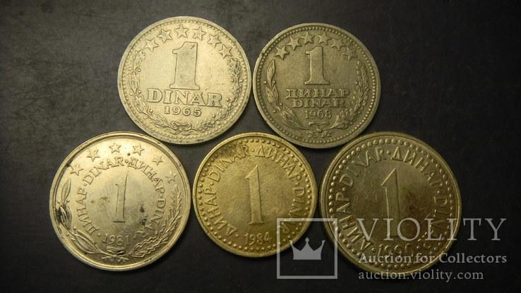 1 динар Югославія (порічниця) 5шт, всі різні, фото №2