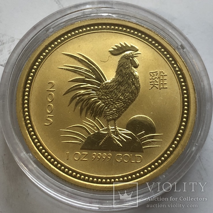 100 $ 2005 года Австралия лунар «Год Петуха» золото 31,1 грамм 999,9', фото №2